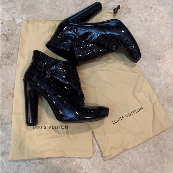 Louis Vuitton Croc Embossed Booties